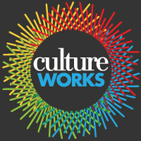 Culture Works full color logo on dark background