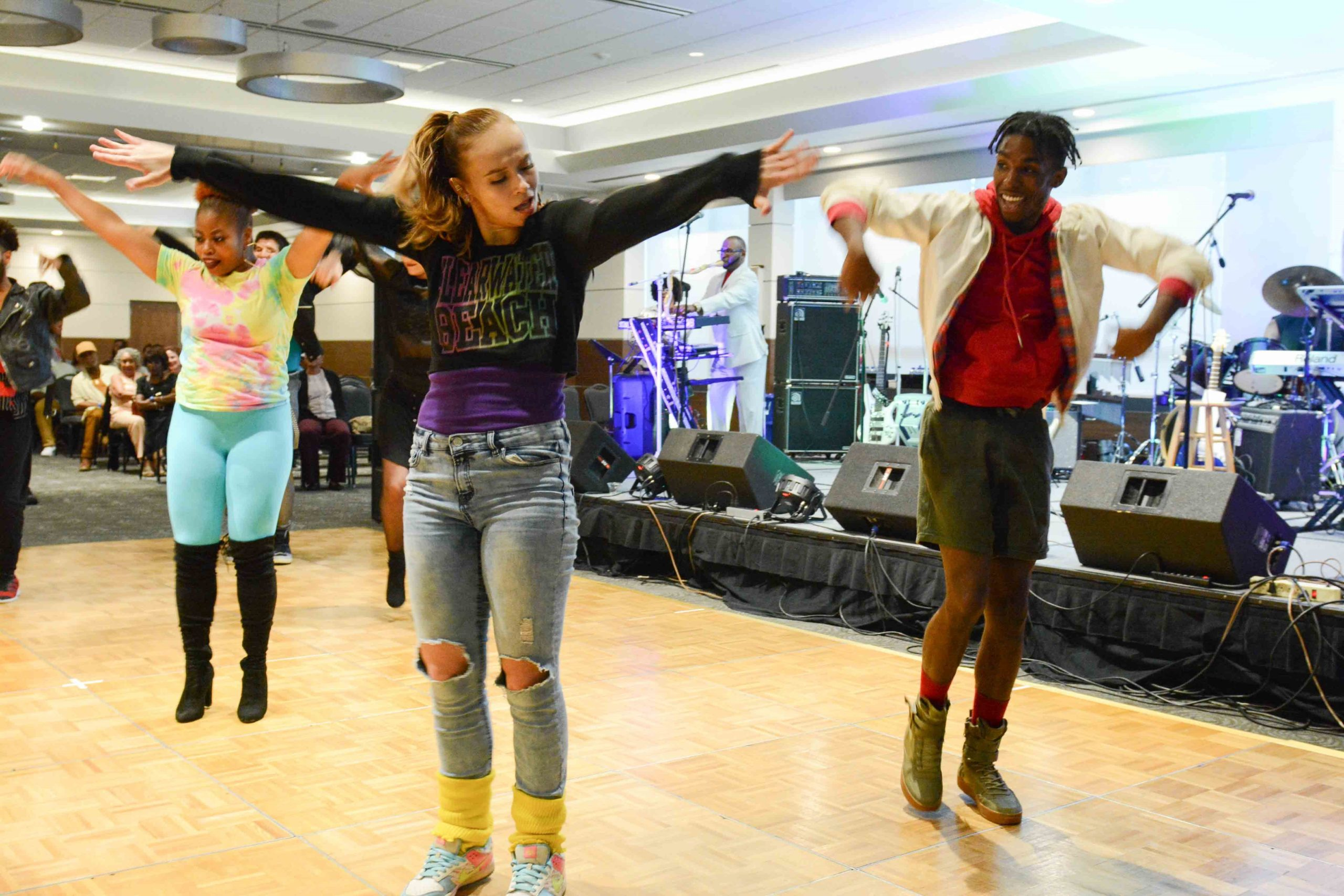 Dayton Contemporary Dance Company dancers demonstrating Funk dance styles at the University of Dayton's Dayton Funk Music Symposium